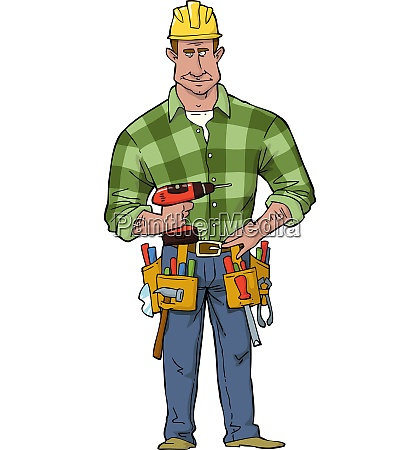 cartoon construction worker with tools vector