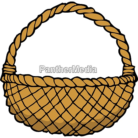 doodle wicker basket on a white