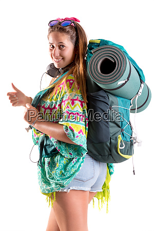 traveling girl with backpack