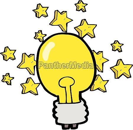 cartoon shining light bulb