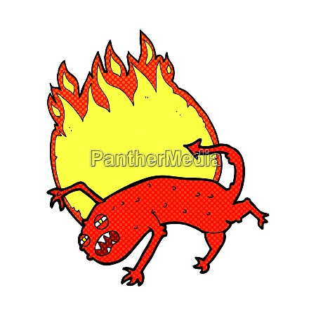 cartoon monster on fire