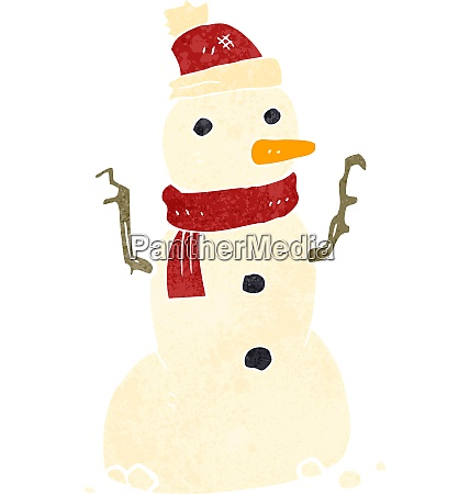 retro cartoon snowman