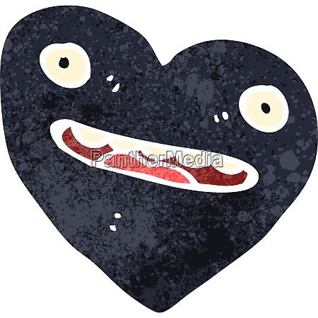 retro cartoon black heart symbol