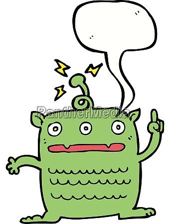 cartoon weird little alien with speech