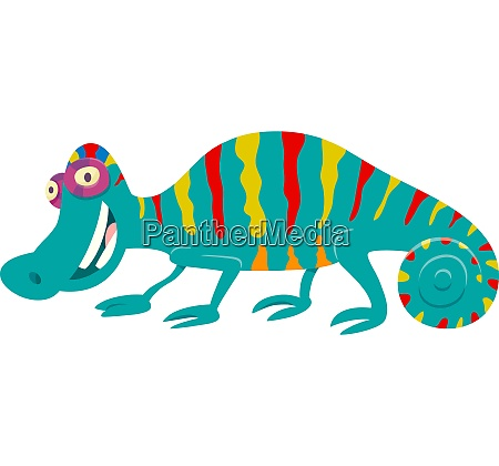 funny chameleon cartoon animal character