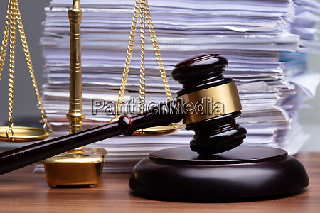 justice scales and wooden gavel on