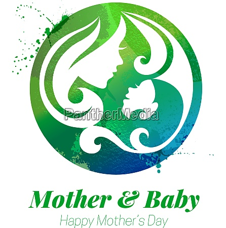 vector watercolor effect illustration of mother