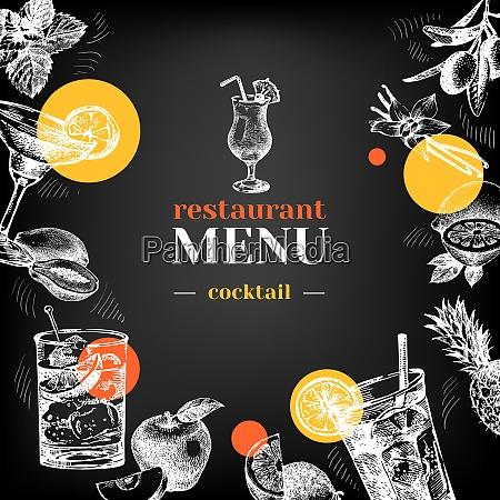 restaurant chalkboard menu hand drawn sketch