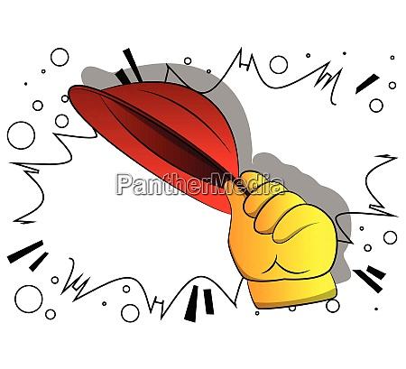 vector cartoon hand tipping a hat