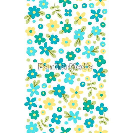 seamless border with cute flowers vector