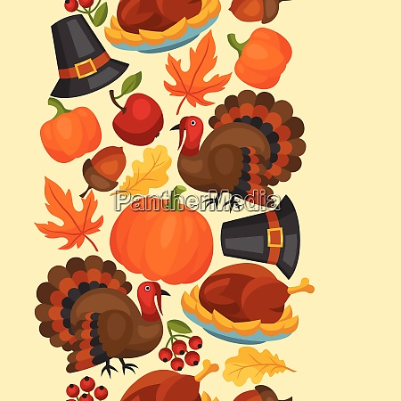 happy thanksgiving day seamless pattern with