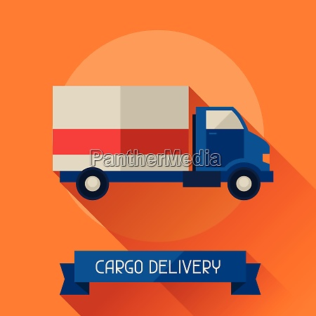 cargo delivery icon on background in