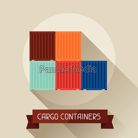 cargo containers icon on background in
