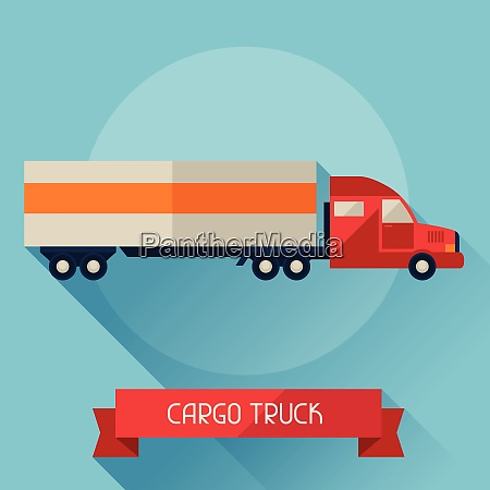 cargo truck icon on background in