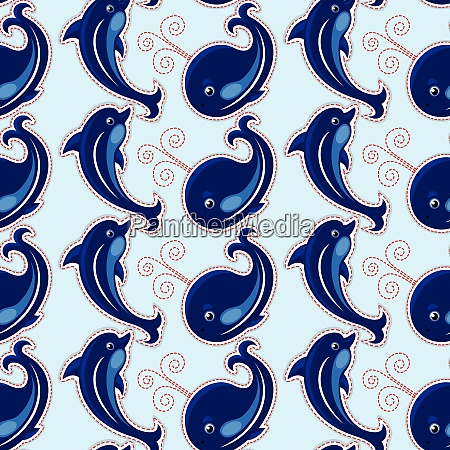 seamless pattern with whales and dolphins