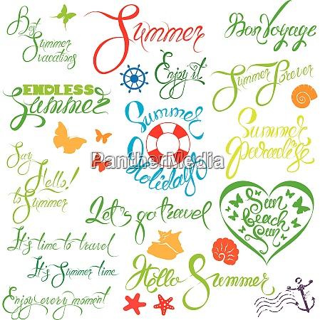 set of handwritten text endless summer