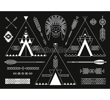 collection of native american tribal stylized