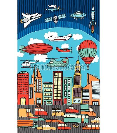 busy city metropolis