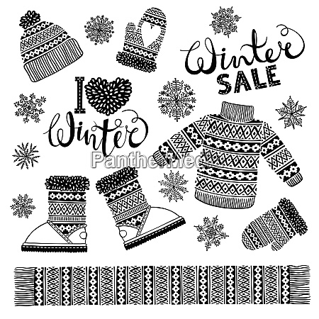 set drawings knitted woolen clothing and