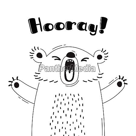 illustration with joyful bear who shouts