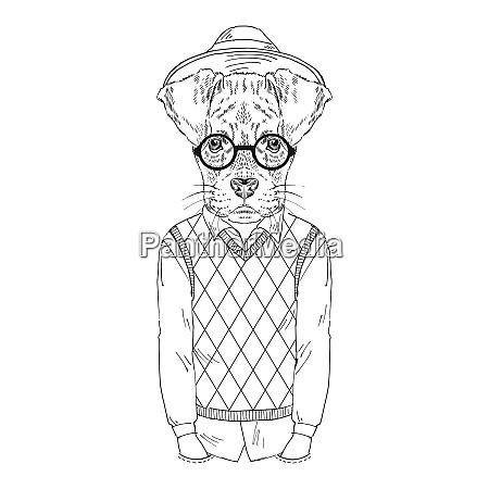 anthropomorphic design hand drawn illustration of