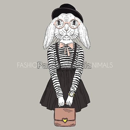 anthropomorphic design fashion illustration of bunny