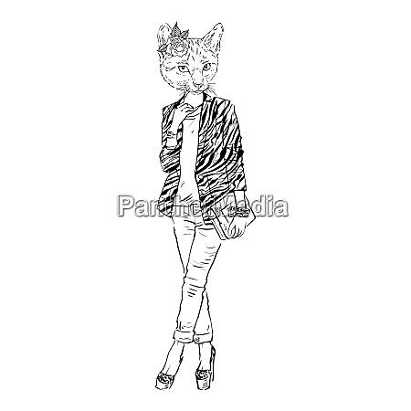 fashion illustration of cat girl dressed