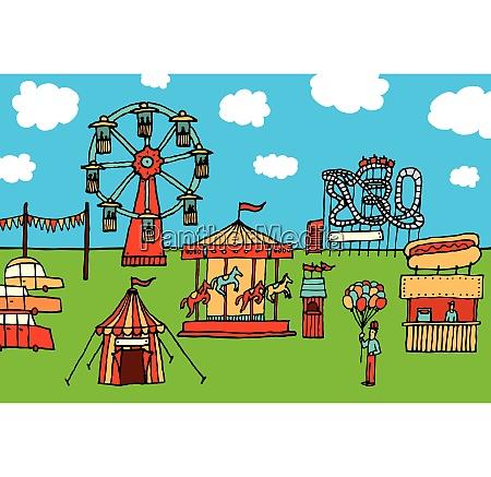 cartoon carnival amusement park