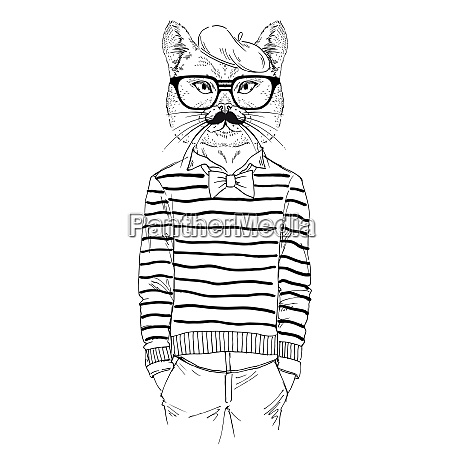 illustration of dressed up cat french