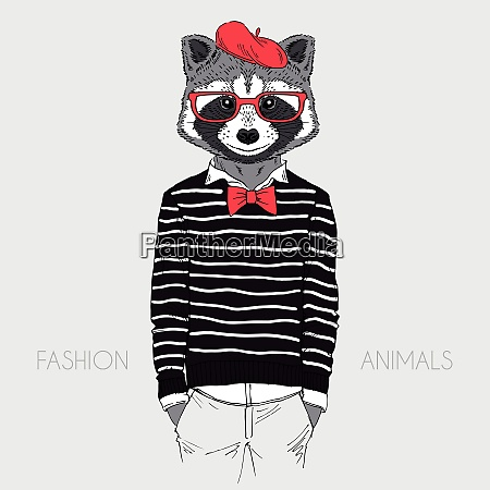 illustration of dressed up raccoon french