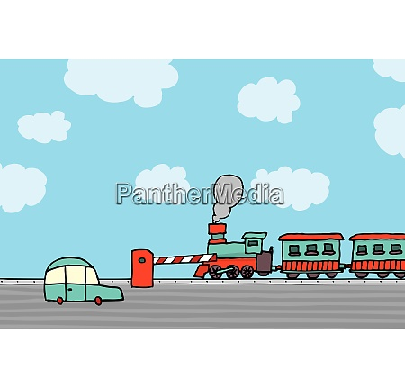 train passing railroad crossing