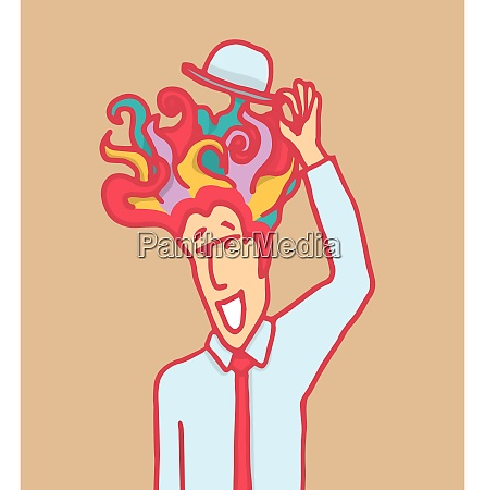man with colorful hair lifting his