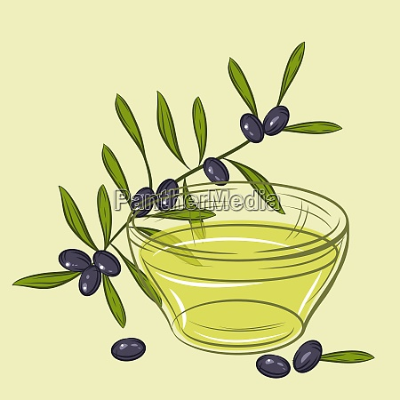 illustration with black olives and cup