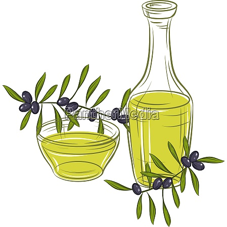 illustration with black olives and bottle