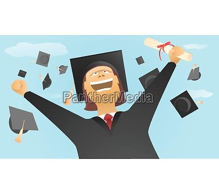happy graduate and caps up in
