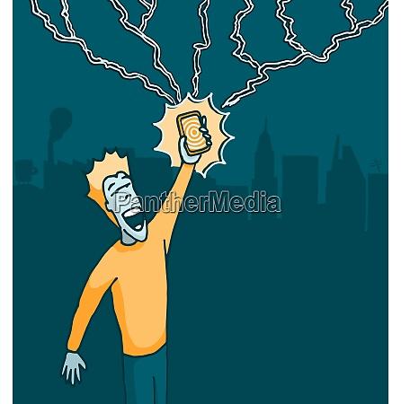 man holding a cell phone struck
