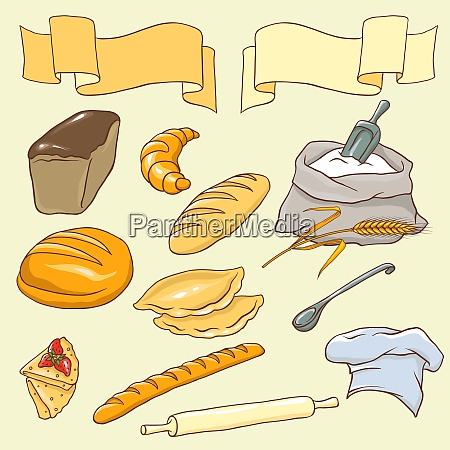 vector set on the bread theme