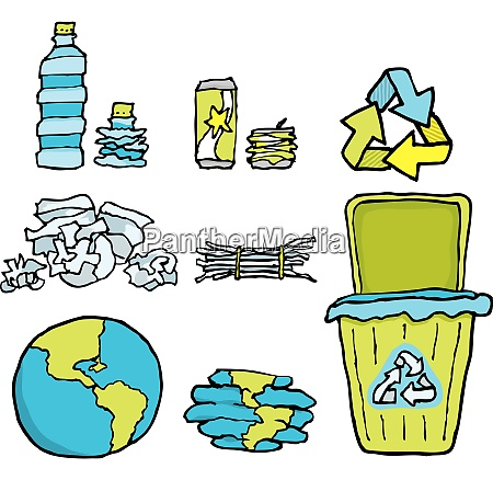 environmental conservation recycling set