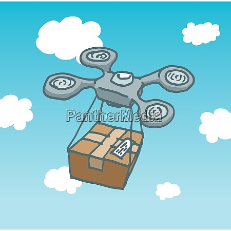 cartoon illustration of a drone copter
