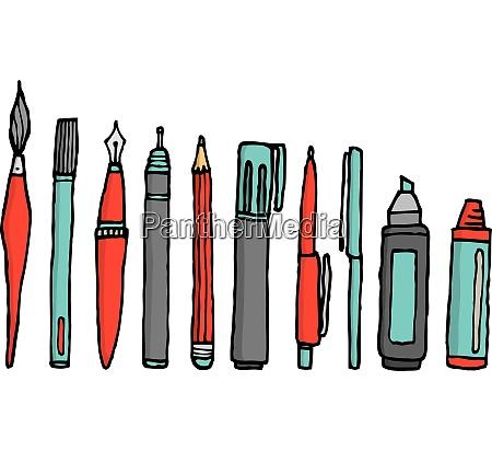 writing instruments cartoon set