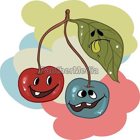 drunk cherry mascot cartoon character vector
