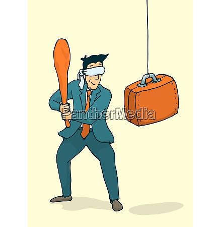 cartoon illustration of blindfolded businessman ready