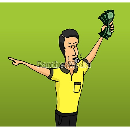 cartoon illustration of corrupt referee taking
