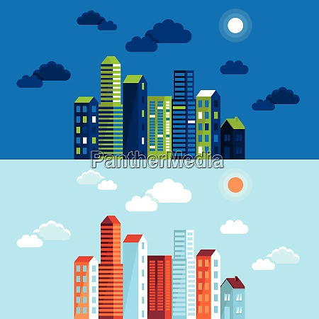 vector city illustration in flat simple