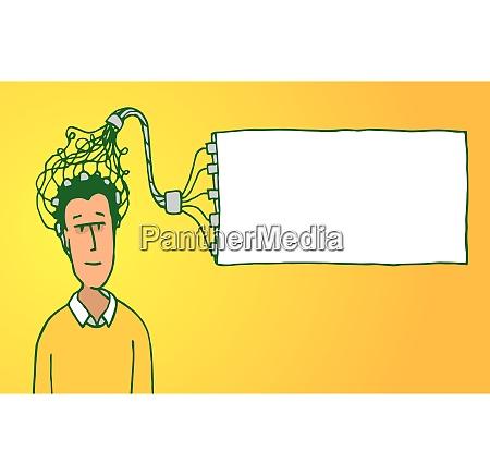 cartoon illustration of a blank banner
