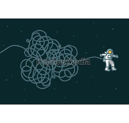 cartoon illustration of astronaut with tangled