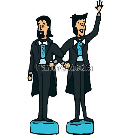 cartoon illustration of gay couple of