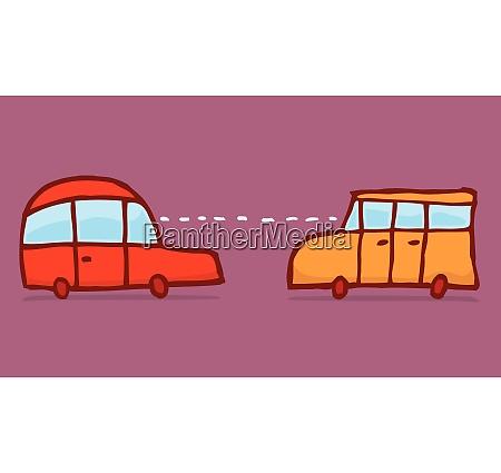 cartoon illustration of smart cars connecting