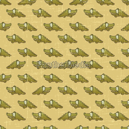 vintage vector seamless pattern with cartoon