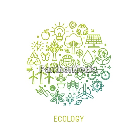 vector ecology illustration with icons and